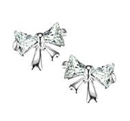 (1 Paar) aus Sterling Silber Zirkon niedliche Schmetterlingsohrstecker