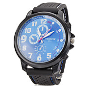 Men's Simple Round Dial Silicone Band Quartz Analog Wrist Watch(Assorted Colors)
