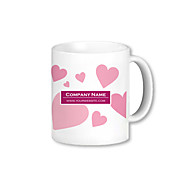 Personalized Pink Heart Blanc Motif Tasses