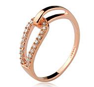 Transparent Rhinestone d'anneaux de bande des femmes de mode (or) (1 PC)
