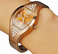 Frauen quadratische Zifferblatt Diamante Brown Legierung Band Quarz Analog Armband Uhr