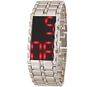Men's Red Led Digital Dial Steel Band Wrist Watch