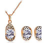 Zircon Golden Plated Earrings & Necklace Jewelry Set