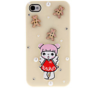 Cartoon Style a Little Girl and Wooden Bear and Beads Covered Hard Case with Glue for iPhone 4/4S