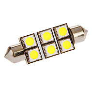 Festoon 1W 6x5050SMD 54LM 6000-7000K Cool White Light LED Bulb for Car (DC 12V)