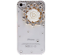 Tasteful Diamond White Flower Covered Transparent Hard Case with Nail Adhesive for iPhone 4/4S