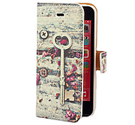 Vintage Key and Flower Pattern PU Full Body Case with Card Slot and Stand for iPhone 5C