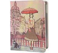 Painting Style An Elegant Lady in The Street Pattern PU Full Body Case with Stand for iPad Air
