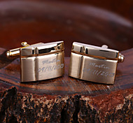 Personalized Gift Gold Rectangle Engraved Cufflinks