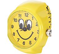 Women's Smiling Pattern Yellow Alloy Quartz Ring Watch