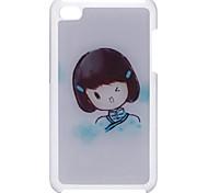 Estilo de dibujos animados Una muchacha del pelo del patrón estuche rígido epóxico Corto para el iPod Touch 4
