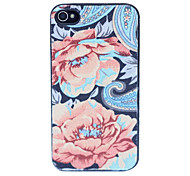 Flower Pattern Plastic Back Case for iPhone 4/4S