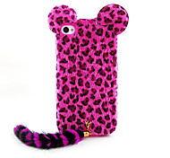 Flocking Leopard Print Cat With Tail Designed Back Case for iPhone 4/4S(Assorted Color)