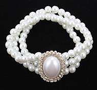 Elegante Strand Pérola Com pulseira de strass Mulheres