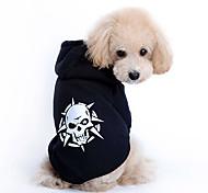 Dog Hoodie Black Winter Skulls