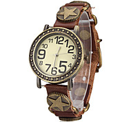 Unisex Brown Star Weave Leather Band Quartz Analog Bracelet Wrist Watch