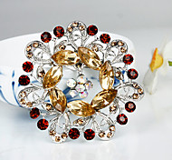 Women's Fashion Brown Crystal Silver Plated Brooch