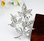 Women's Fashion White Crystal Silver Plated Brooch
