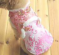 Dog Coat / Dress Yellow / Gold Dog Clothes Winter Flower Wedding