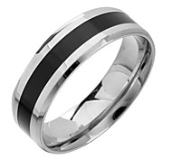 (1pc) Fashion Black And White Titanium Steel Band Ring