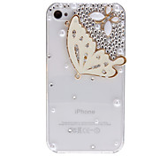 Shimmering Butterfly with Diamond Covered Transparent Hard Case with Nail Adhesive for iPhone 4/4S