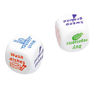 2.5cm 2pcs ABS White Housework Style Dices