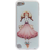 Cartoon Style A Thinking Girl Pattern Epoxy Hard Case for iPod Touch 5