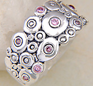 (1 Pc) Vintage Women's Pink Multi-Stone Ring(Pink)