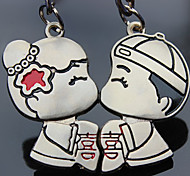 A Pair Wedding Style Silver Lover Keychains