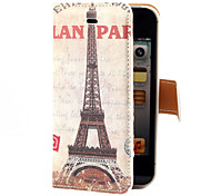 Vintage Eiffel Towel Pattern PU Full Body Case with Card Slot and Stand for iPhone 4/4S