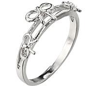 (1 pc) L'argent des femmes douces anneaux plaqué platine (7 #)