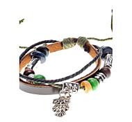 Unisex Owl Pendant Fabric Leather Bracelet