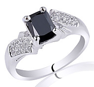Elegant Women 925 Sterling Silver Ring With 5X7Mm Radiant Shape Zircon