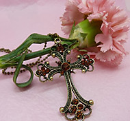 Lureme®Gothic Style Vintage Cross Pendant Long Necklace