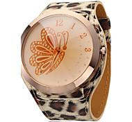 Unisex Golden Butterfly Dial Leopard Print Band Quartz Analog Wrist Watch