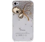 Neuheit Design Empfindliche Maple Leaf mit Kristall und Diamant-transparentes Gehäuse mit Nail Kleber für iPhone 4/4S (verschiedene Farben)