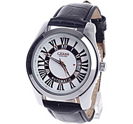 CJIABA GA9016 Roman Numeral Dial Automatic Mechanical hand wind Men's Wrist Watch - Black + White + Silver