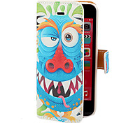 Blue Dragon pattern PU Caso Full Body con slot per schede e Stand per iPhone 5C