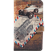 Vintage Post Card Pattern PU Full Body Case with Card Slot and Stand for iPhone 4/4S