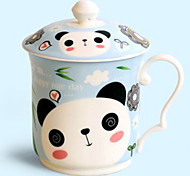 Panda Mug with Lid, Porcelain 12oz