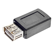 USB A Female to Mini USB Female Converter Adapter Black