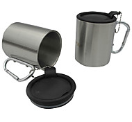 Outdoor Stainless Steel Camping Cup with Carabiner Handle (300mL)