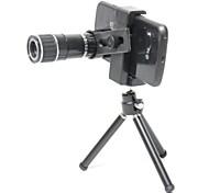 Conjunto universal 12X Zoom Lens para iPhone 5s / c / 4s, Samsung Nota 3 / S4 / S3 + Más - Plata