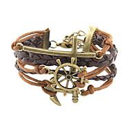 Anchor Cross Brown Bracelet