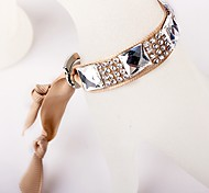 Glass Diamond Ribbon Coffee Bracelet