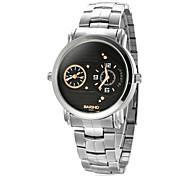 Herren Dual Time Zones Silber Steel Band Quartz Analog-Armbanduhr (verschiedene Farben)