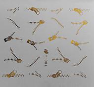 Transferencia 1PCS de Oro de la cremallera del patrón de agua de impresión etiqueta engomada del clavo de colores