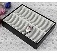 "9x7x2"" Bracelet Bangle Cuff Black Leather & Wood  Diplay Box"