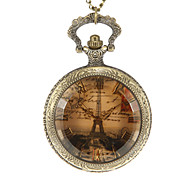 Unisex Eiffel Tower Pattern Vintage Alloy Quartz Analog Pocket Watch
