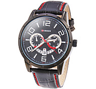 Men's Calendar Round Dial Leather Band Quartz Analog Wrist Watch (Assorted Colors)